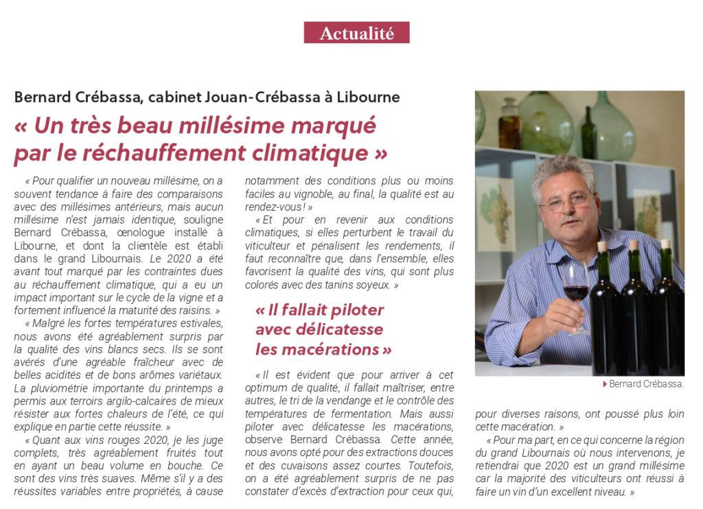 Article Bernard Crebassa Journal Union Girondine des Vins de Bordeaux